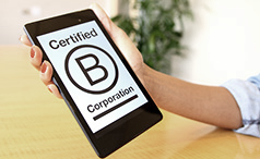 B-Corp logo on a tablet held in somoene's hand
